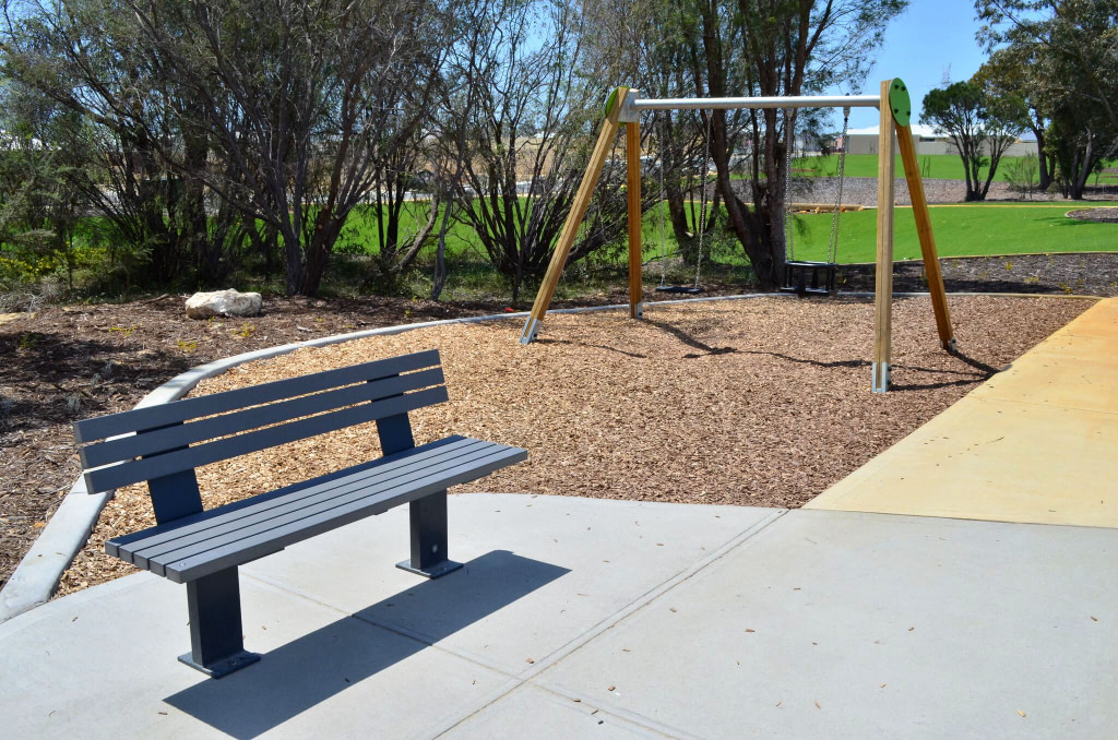 Gray Outdoor Steel Frame with Wood Bench